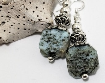 Elegant Raw Dominican Republic Larimar, Adorned with Sterling Silver #604
