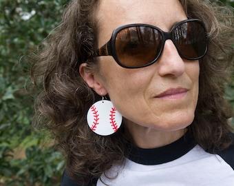 Leather Baseball Earrings - Baseball Mom Jewelry - Lightweight Leather Earrings - Sports Jewelry - Earrings for Women - Baseball Fan Gift