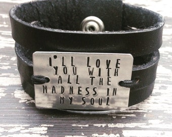 Personalized Black Leather Cuff, Leather Bracelet, Womens Leather Wrap Bracelet, Stamped leather bracelet, Personalized bracelets for women