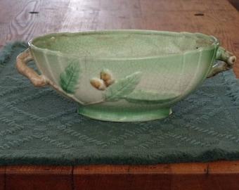Beautiful Japan Pottery Center Bowl with Acorn Design