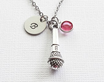 Microphone Necklace Musician Music Lover Singer Rocker Star Jewelry Swarovski Birthstone Silver Initial Personalized Monogram Hand Stamped