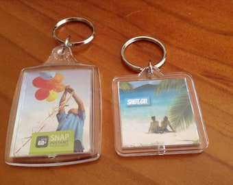 2 Clear Acrylic 2-Part Key Chains / Keyring - Photos, Cross Stitch, Artwork, Business Gift