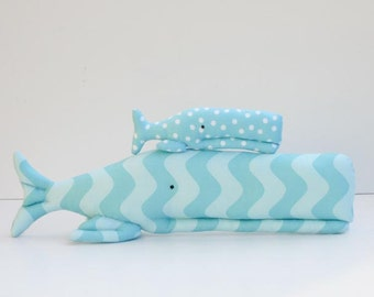 Stuffed whale plush sofie whales big and small sea creatures child friendly toy blue fish nautical sea ocean nursery decor baby shower gift