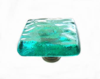 Sea Glass Wave Glass Knob Hardware in Transparent Aqua Art Glass. Softly Textured Waves for a Beach Cottage Kitchen or Bath. kw100