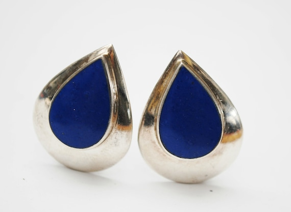 Sterling Lapis Tear drop Earrings - Blue gemstone Inlay - Clip on earrings -