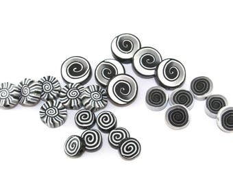 24- assorted flat black white ombre millefiori spiral pattern beads for jewelry making, boho design coin beads