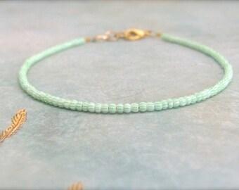 Friendship Bracelet, Mint Friendship Bracelet, Mint Green Bracelet, seed bead bracelet, beaded bracelet, Mint Bridesmaid, Bridesmaid Jewelry