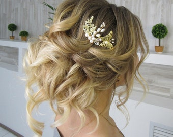 Bridal hair combs pearls Gold leaflets Czech crystal Wedding hair piece Flower hair comb Bridal hair piece Gold Boho jewelry gold