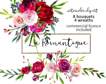 Watercolor Floral Clipart Red Purple Pink Burgundy Roses Peonies Flower Bouquets Wreaths PNG Fall Scarlett Wedding Flowers Commercial Use