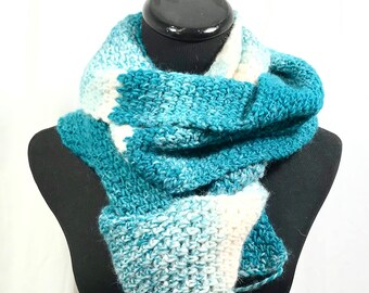 Teal and Cream Ombré Crochet Oversize Scarf