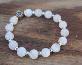 Moonstone and silver rose bracelet