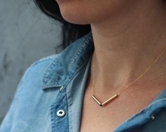 V Necklace, Chevron Necklace, Gold Arrow Necklace, Bar Necklace, Minimal Necklace, Layering Necklace, Geometric Necklace, Dainty necklace