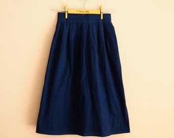 Dark blue Checkered Wrinkle skirt