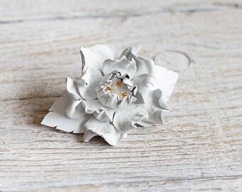 Small Leather flower barrette, flower barrette, white barrette, french barrette, wedding barrette, white hair clip, Hair Accessories, boho