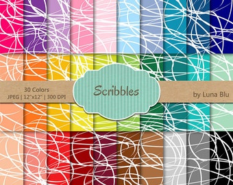"Scribble Digital Paper pack: ""Rainbow Scribbles"" digital paper bundle, scribble scrapbook paper, set of 30, commercial use, mega pack"