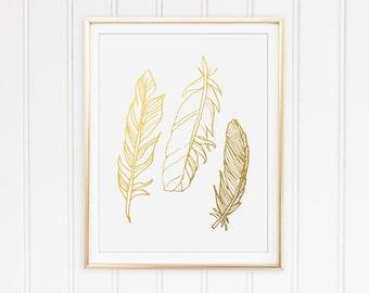 Feather Print, Rustic Print, Modern Home Decor, Faux Gold Foil, Modern Nursery Print, Minimal Print, Animal Print, Rustic Chic Print