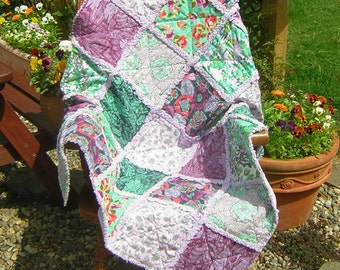 "Sofa throw, lap quilt, blanket, rag quilt. 48"" x 58"". Amy Butler designer cotton fabrics, jade green, purple, lilac. Ready to ship."