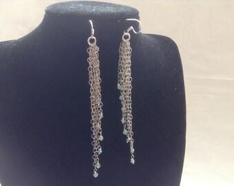 SALE... Waterfall Colombian emerald earrings. Colombian emerald long chain earrings.