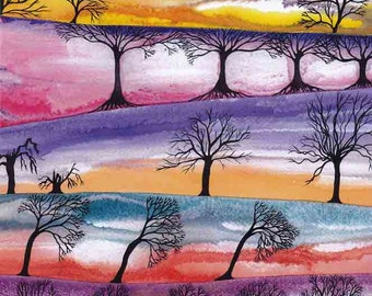 """Art Print: """"Skies and trees"""" - A3 mystical print, sunsets, bare trees, wall art, contemporary art, tree print, from a painting by Liz Clarke"""