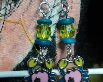 Cute - Crab Silver Earrings - Animal Blue & Pink Crab Silver Earring