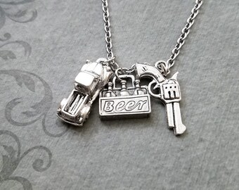 Truck Necklace SMALL Truck Jewelry Trucker Gift 6 Pack Beer Necklace Truck Charm Gun Necklace Boyfriend Necklace Husband Revolver Necklace
