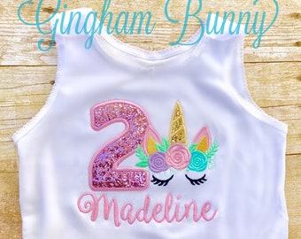 Unicorn Tank Top, Unicorn BirthdayTank Top, Shirt, Unicorn Birthhday Shirt, Unicorn Cake Smash, Unicorn First Birthday, Unicorn 1st Birthda