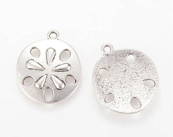Sand Dollar Charms Sand Dollar Pendants Antiqued Silver Charms Ocean Charms Nautical Charms 30mm 4 pieces