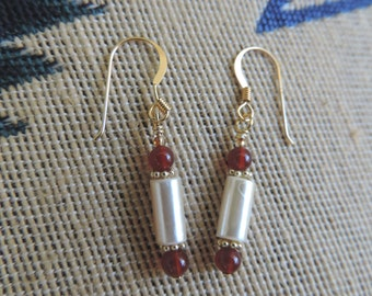 Mother of Pearl, Garnet Earrings