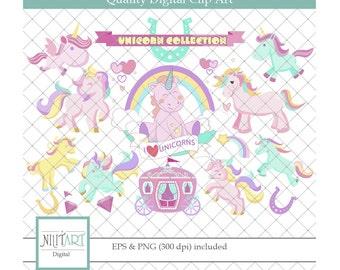Unicorn clip art, Rainbow clipart, vector graphics, Baby Unicorn clipart, digital images -  CL 128
