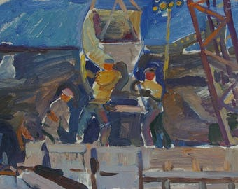 Soviet builders,Workers,Socialist Realism,collective farm,kolkhoz,original painting,Titova O.G. Cementing 33-51 km 60е 0,15