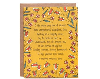 O the Deep, Deep Love of Jesus Hymn Greeting Card gift for women stationary floral birthday card thank you card grandma gift inspirational