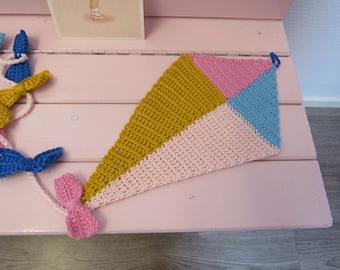 Crocheted bunting/garland Kite