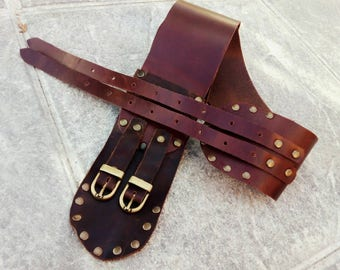 Belt with 2 Heblllas, width 7 cm, in two shades of brown.. Leather belt, two buckles, 6cm wide, in two shades of brown