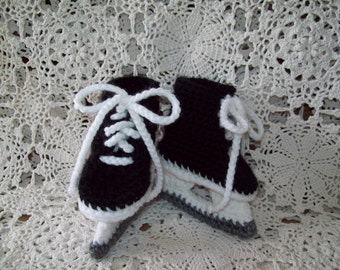 Ice Hockey Skates Baby Infant Newborn  Crochet Booties Unique Baby Shower Gift *PHOTO PROP*