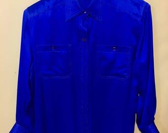 Blue Lillie Rubin Exclusive 100% silk blue size 10