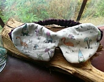 Garden gnomes gift, gnomes Sleep mask, stork sleep mask maroon satin eye mask, handmade eye mask sleep blindfold nightwear, sleep mask women