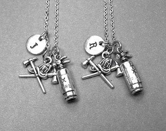 Fire extinguisher necklace, fireman axe necklace, best friend necklace, firefighter necklace, fireman jewelry, firefighter jewelry, monogram