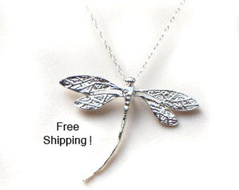 FREE SHIPPING in usa/ Sterling Silver Dragonfly necklace/ dragonfly pendant