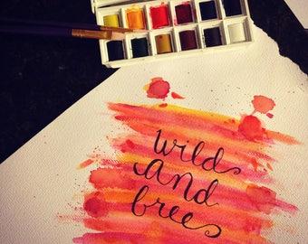 Custom Watercolor Lettering 8X10