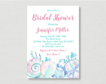 Pink Beach Bridal Shower Invitation / Nautical Bridal Shower Invite / Seashell Bridal Shower / PRINTABLE B125