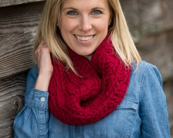 Chunky Button Cowl Scarf - Cranberry