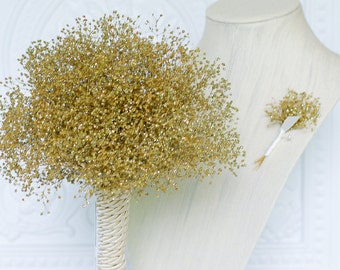 Gold Babies Breath bouquet with matching boutonniere, real preserved babies breath, bridesmaids bouquet, wedding bouquet, dried flower