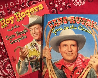 Two vintage children's cowboy books- Roy Rogers and the Sure 'Nough Cowpoke, 1952, and Gene Autry Goes to the Circus, 1950, Tell-a-Tales