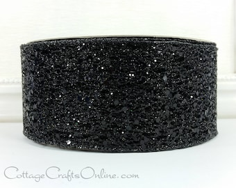 """Halloween Wired Ribbon, 2 1/2"""" wide, Black Glittered Net - THREE YARDS - Offray """"Glitter Time"""" Wire Edged Ribbon"""
