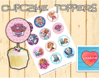 "Paw patrol girls  printables 2 "" circles  cupcake toppers stickers"