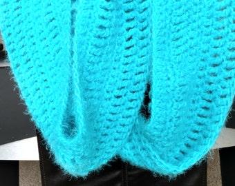 Bright blue chunky infinity scarf