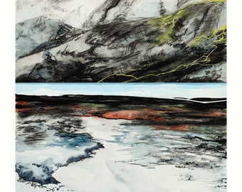 Strönd - Archival art print of charcoal, watercolor and gouache painting of Icelandic shoreline