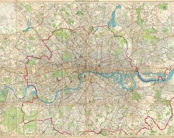 Antique map of London, 1899,old map,art deco,vintage decor, fine art print