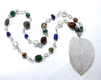 Silver Leaf and Beaded Chain Necklace