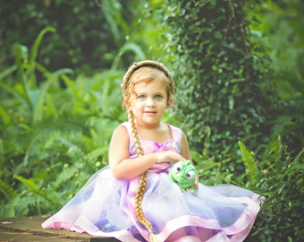 Rapunzel Dress: light purple lined tutu dress with Pink Trim & straps, Easy on and Off for Parks Trip, Birthday Party, Halloween Costume
